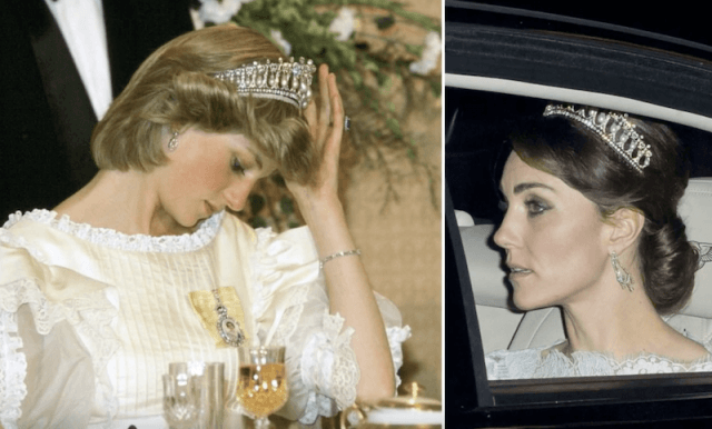 Princess Diana and Kate Middleton wearing tiaras.