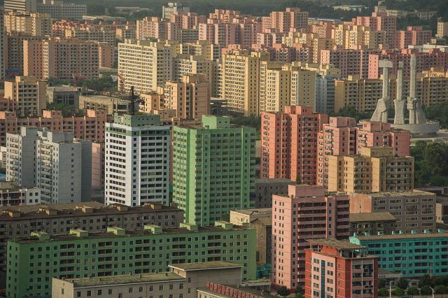 North Korea Pyongyan colorful cityscape