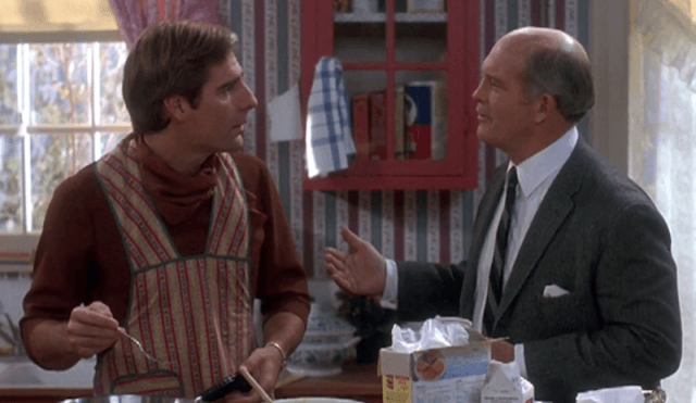 Scott Bakula and Max Gail in 'Quantum Leap' speaking to each other in a kitchen.