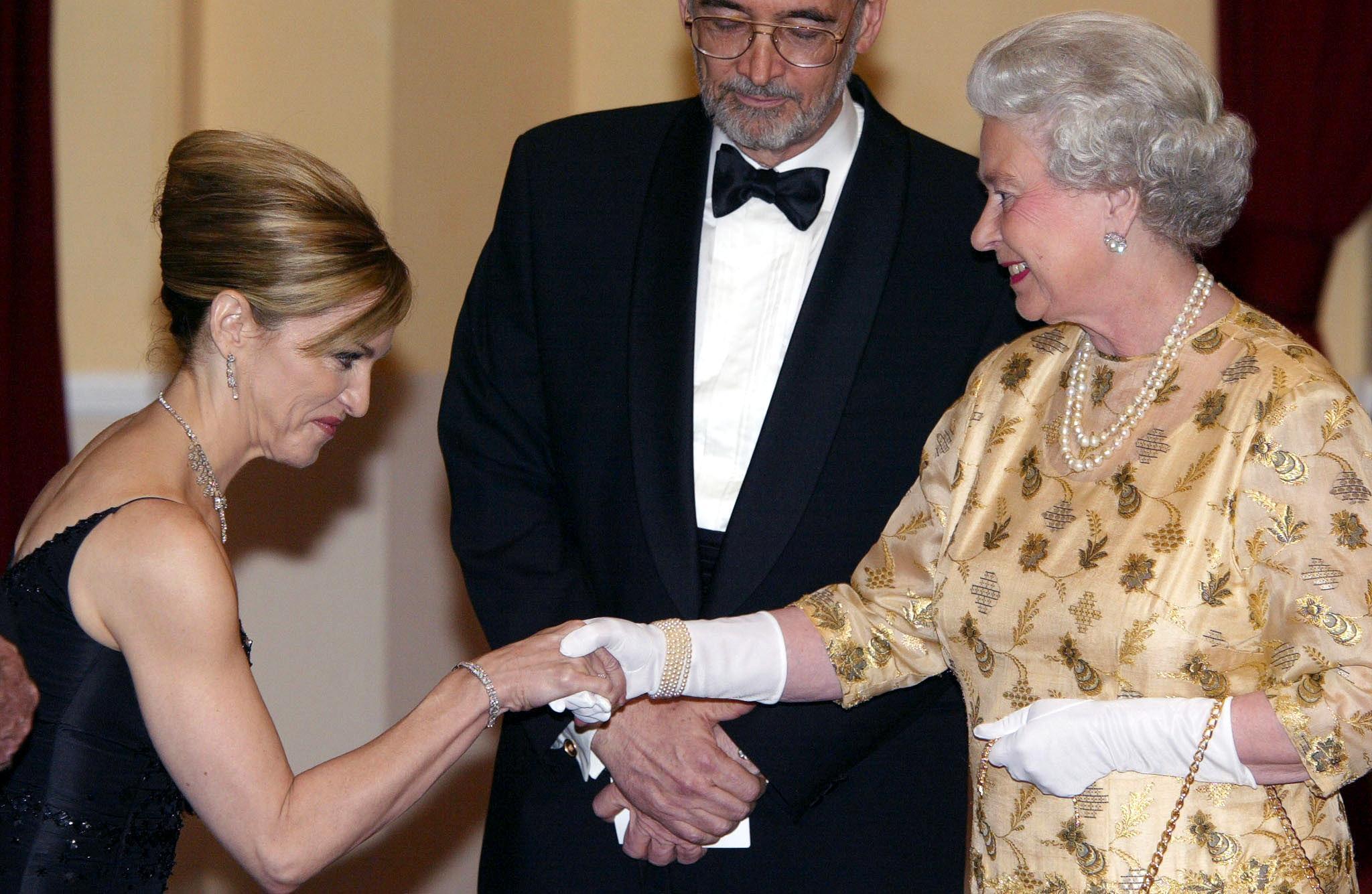 Queen Elizabeth II meets US pop star and actress Madonna