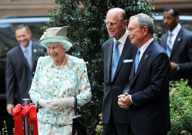 Queen Elizabeth II of Britain, Prince Philipand New York City Mayor Michael R. Bloomberg at the opening of The British Garden in Hanover Square