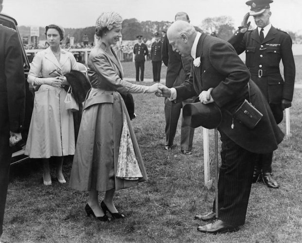 Princess Elizabeth being greeted at a sports event.