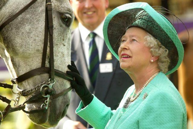 Queen Elizabeth petting a horse while wearing gloves
