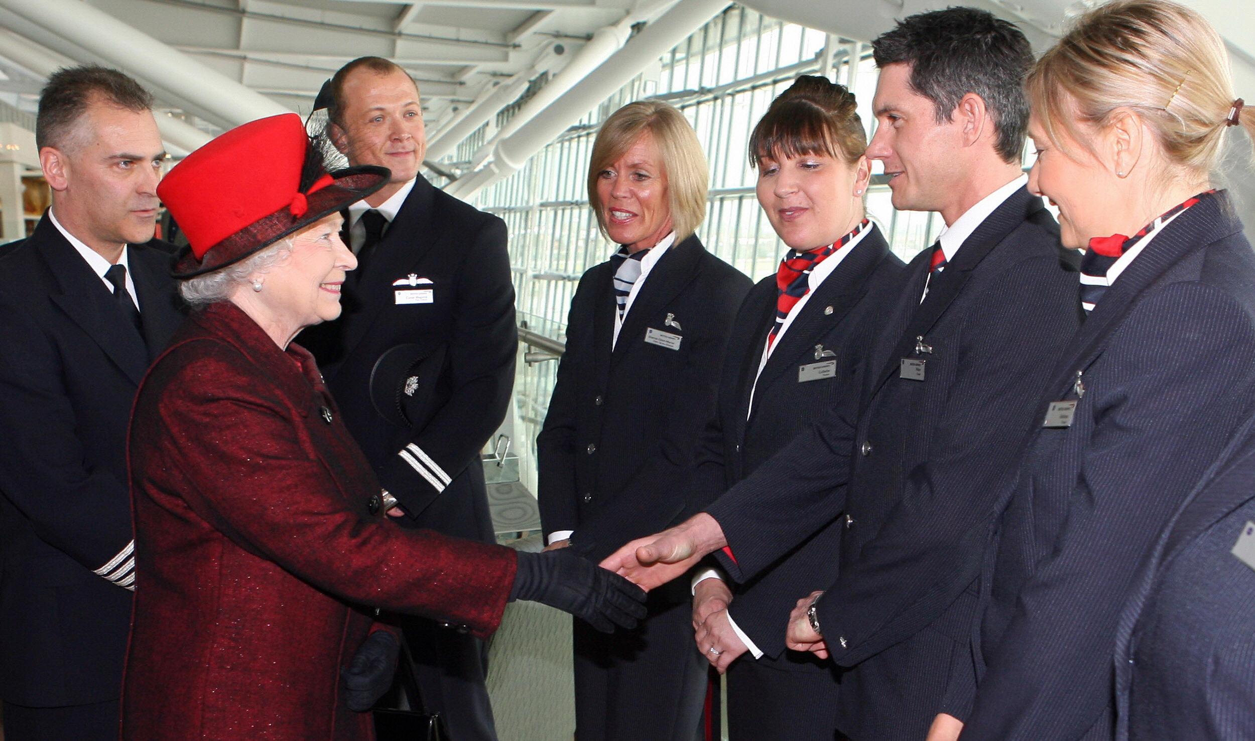 Queen Elizabeth meets with employees of British Airways