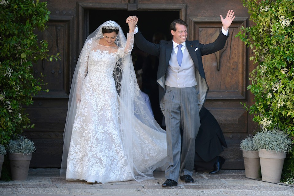 Princess Claire Of Luxembourg and Prince Felix Of Luxembourg depart their wedding ceremony