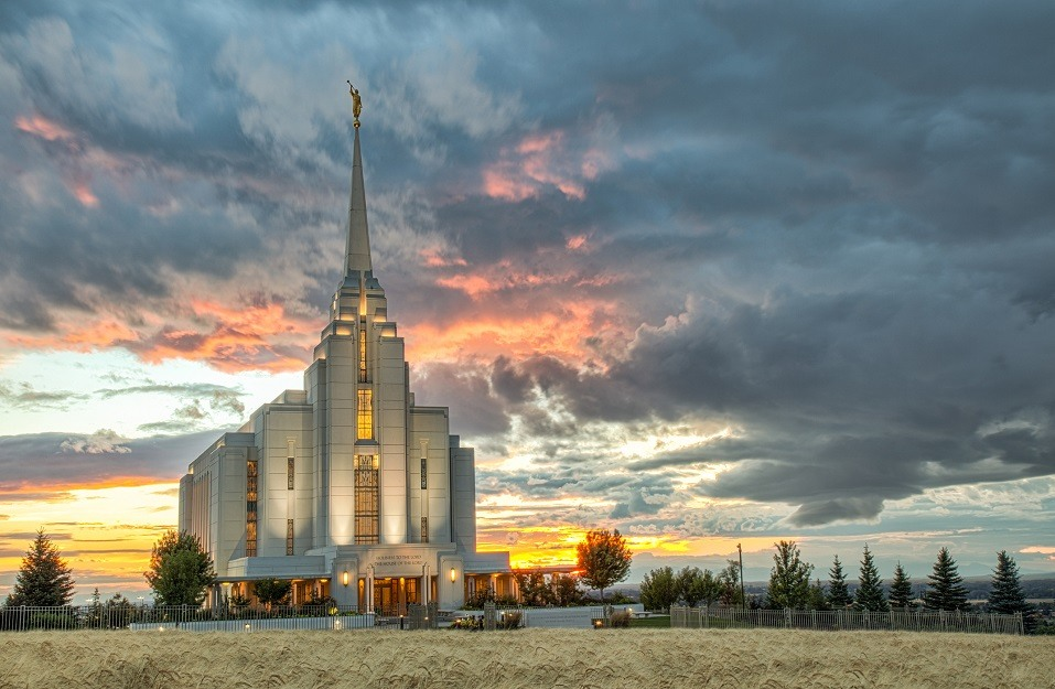 Rexburg Idaho Temple Harvest Sunset