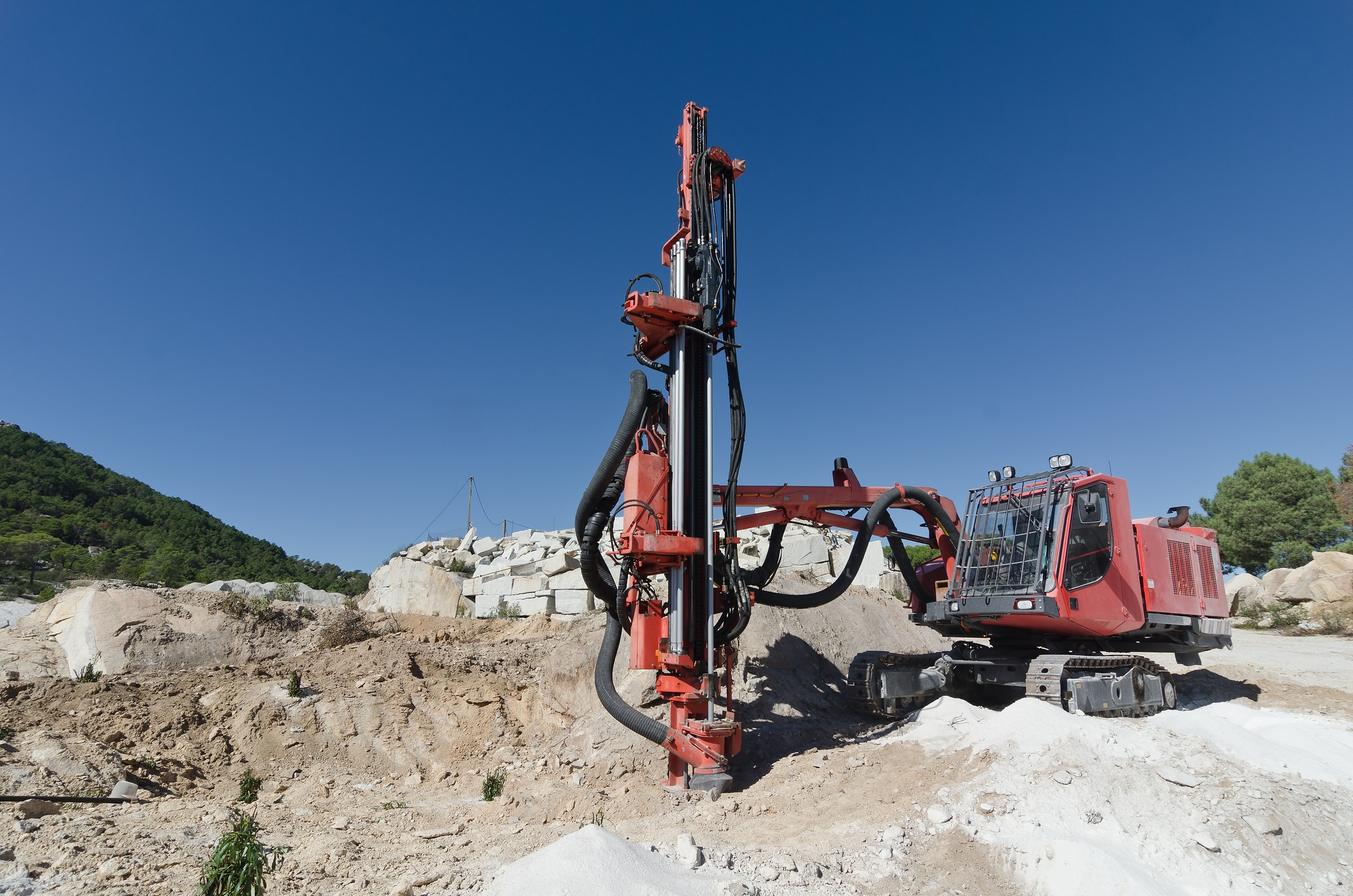 Rock driller in quarry