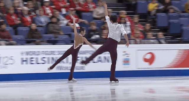The two skaters during a routine.