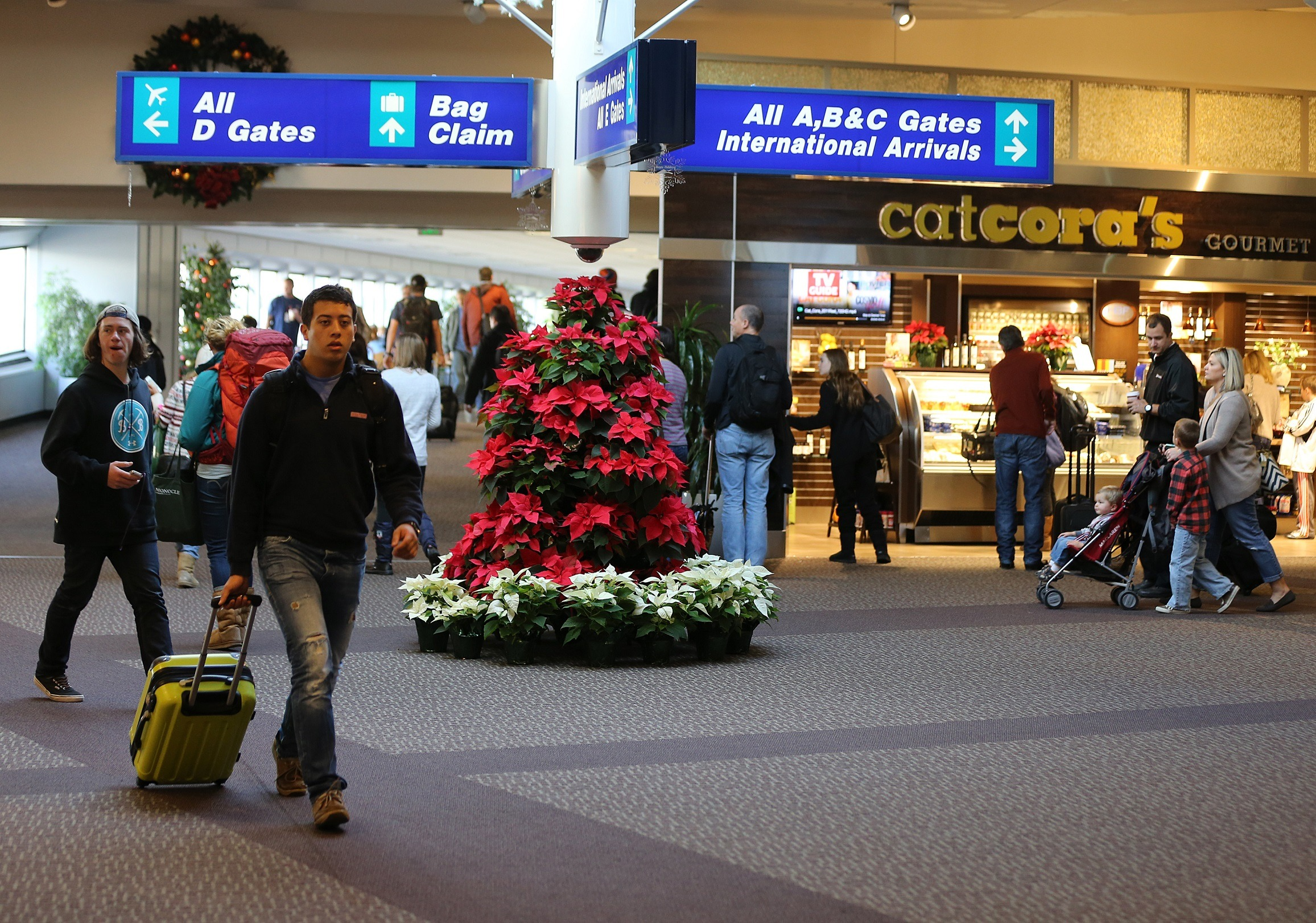 Holiday travelers at Salt Lake City Airport