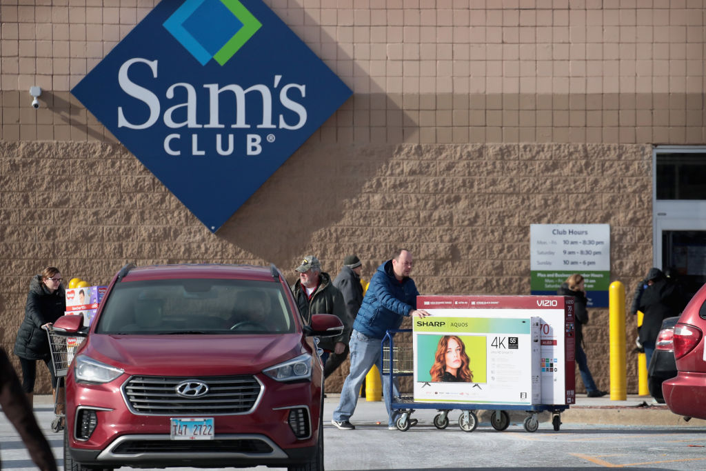 Shoppers stock up on merchandise at a Sam's Club store