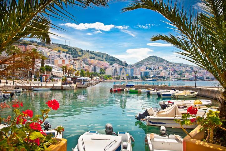 Saranda's city port at ionian sea. Albania.