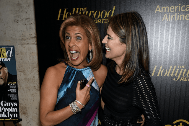 Hoda and Samantha laughing at a party.