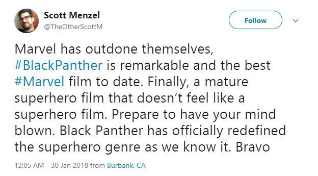 Scott Menzel believes Black Panther redefines the superhero genre.