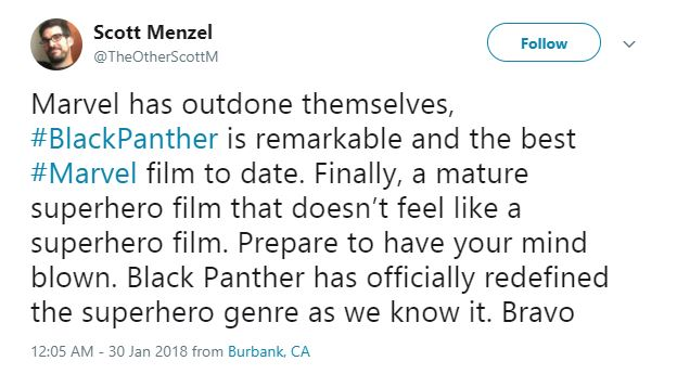 Scott Menzel believes Black Panther redefines the superhero genre.