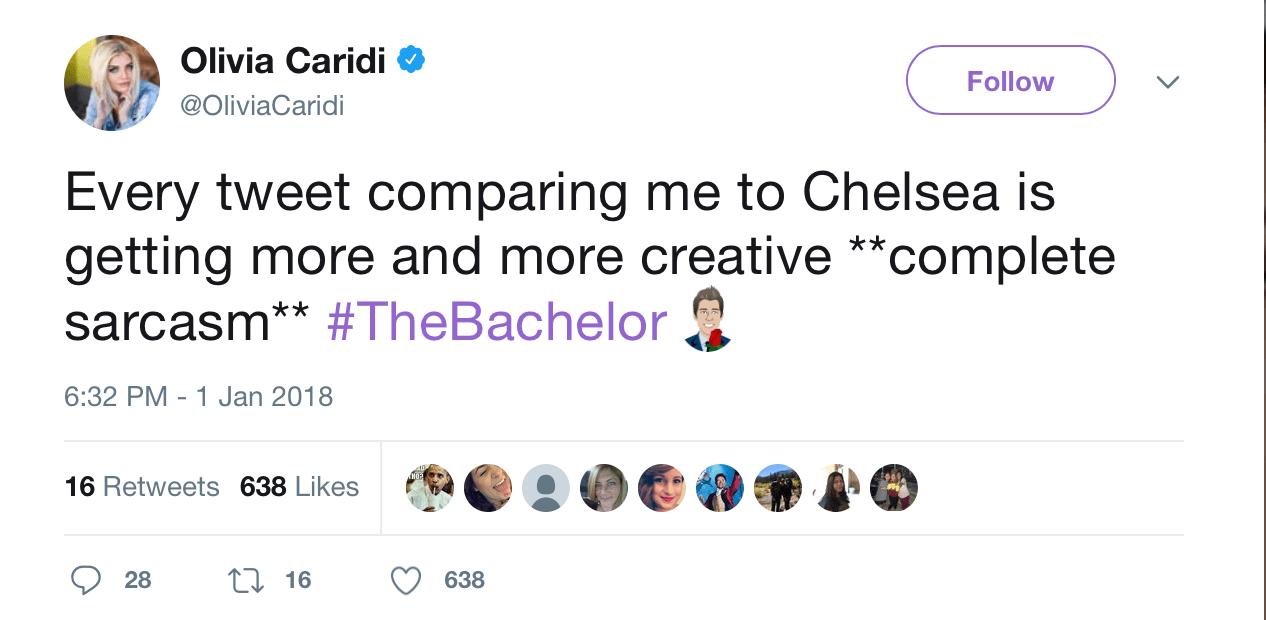 A twitter screenshot of Olivia Caridi