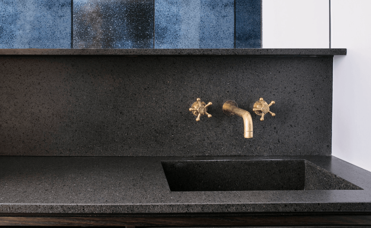 lava stone counter with sink