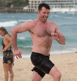 Hugh Jackman at Bondi Beach.
