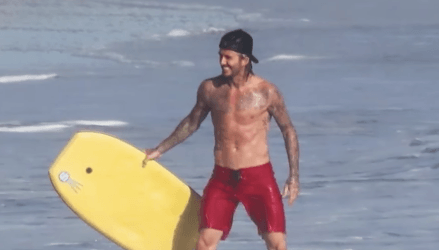 David Beckham at the beach.