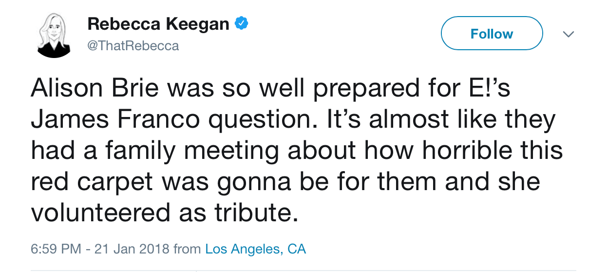 A screenshot of Rebecca Keegan's tweet