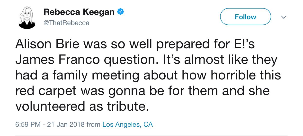 A screenshot of Rebecca Keegan's tweet