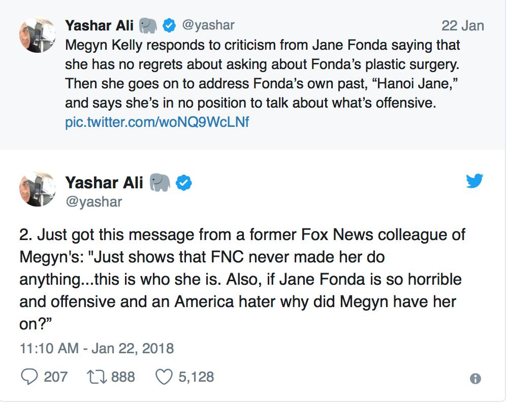 A screenshot from Yashar Ali's twitter account