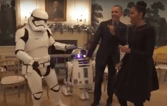 Barack and Michelle Obama dancing on Star Wars Day