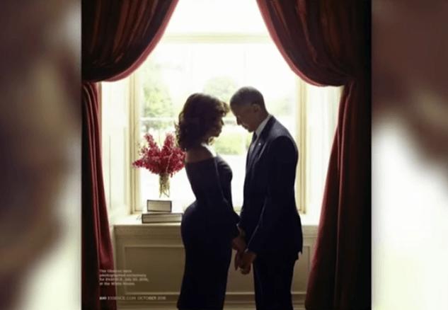 The Obamas posing for Essence photoshoot