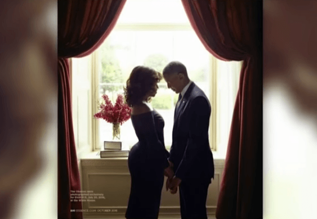 The Obamas posing for Essence photoshoot