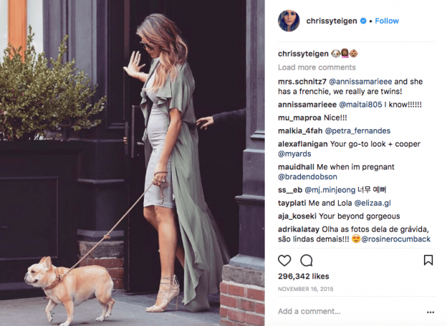 Chrissy Teigen bringing her dog walking fashion