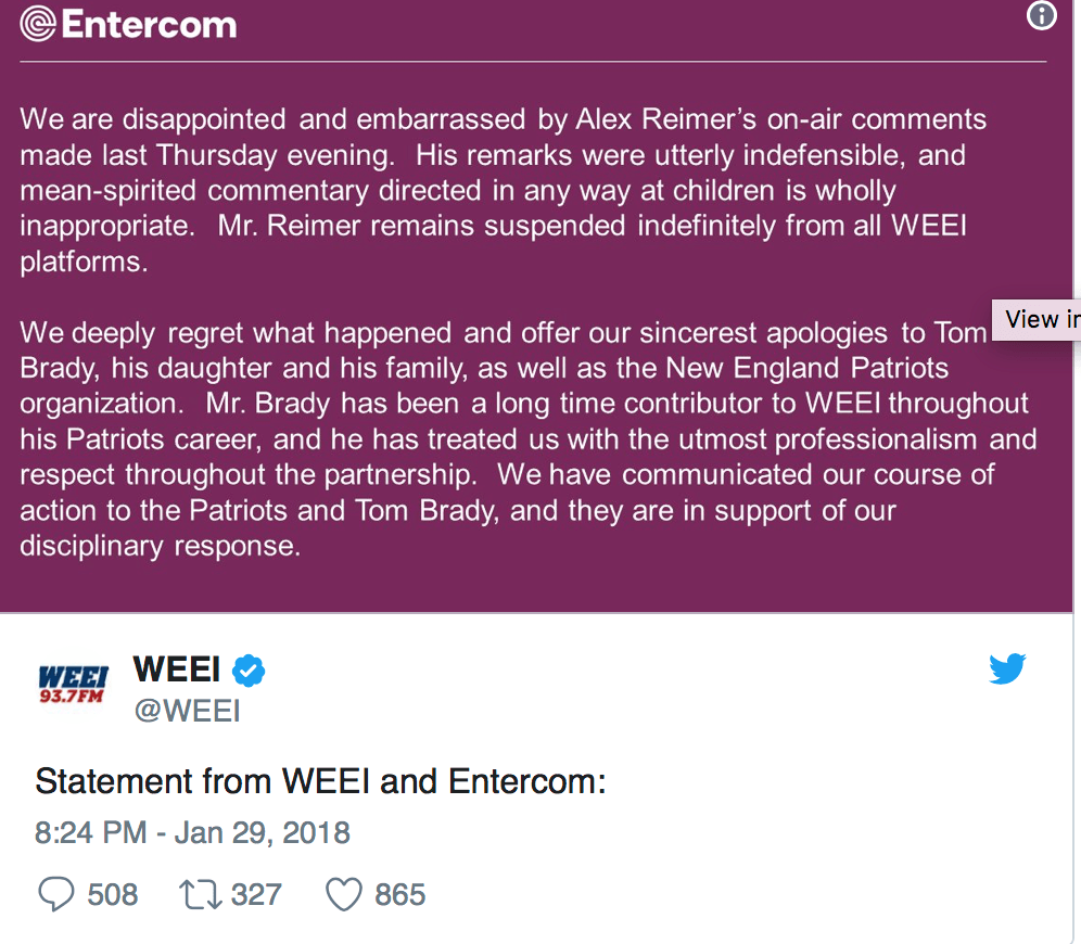 A screenshot from the Twitter of WEEI