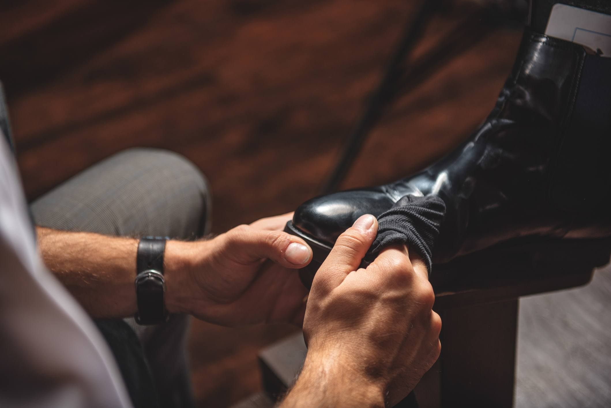 Man getting shoe shine