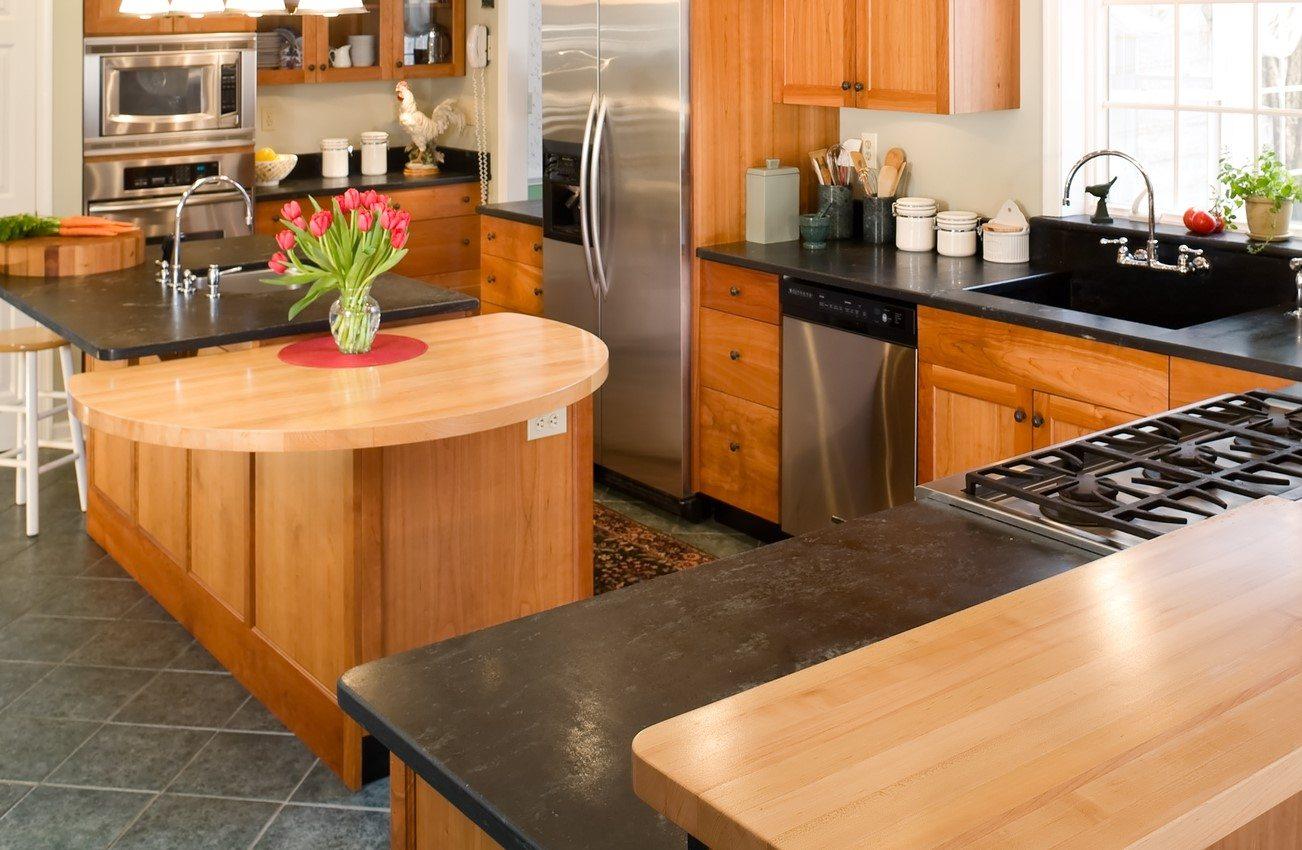 Modern gourmet cherry kitchen.