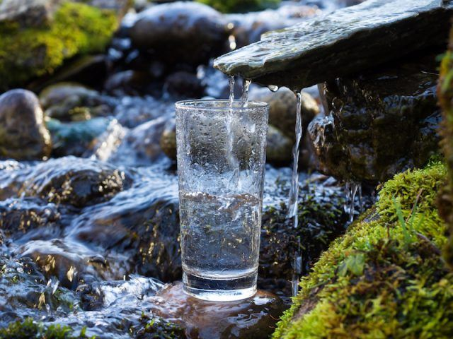 Spring water being poured into a cup.