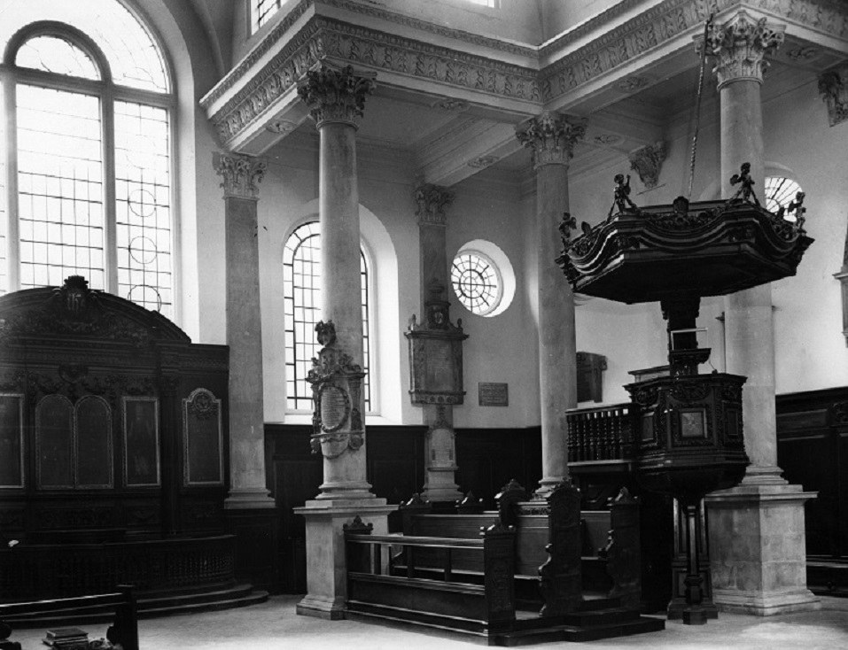 The interior of the Church of St Stephen, Walbrook, London