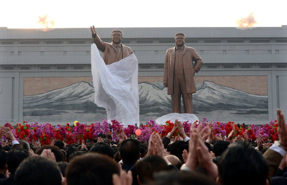 Statues of North Korea's founding president Kim Il-Sung and his son Kim Jong-Il are unveiled