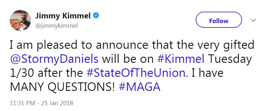 Stormy Daniels Jimmy Kimmel appearance tweet