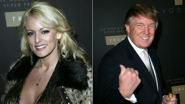 Stormy Daniels and Donald Trump collage.