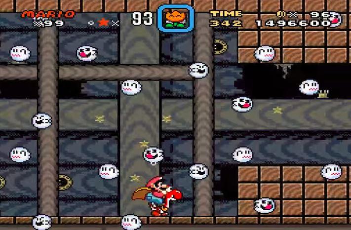 Mario navigates Bowser's sunken airship.