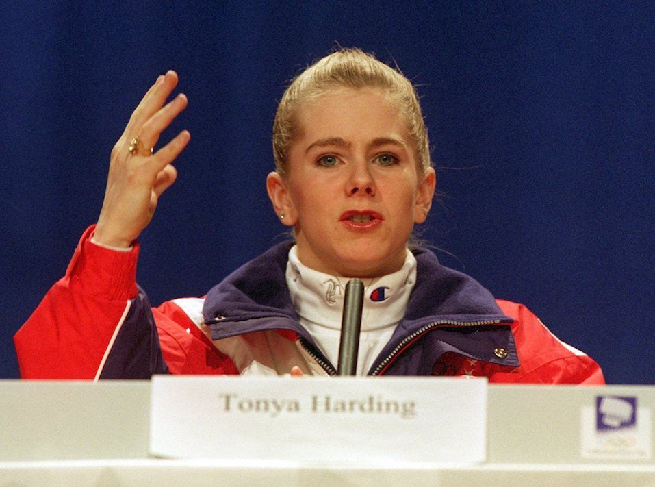 Tanya Harding speaking at a press conference.