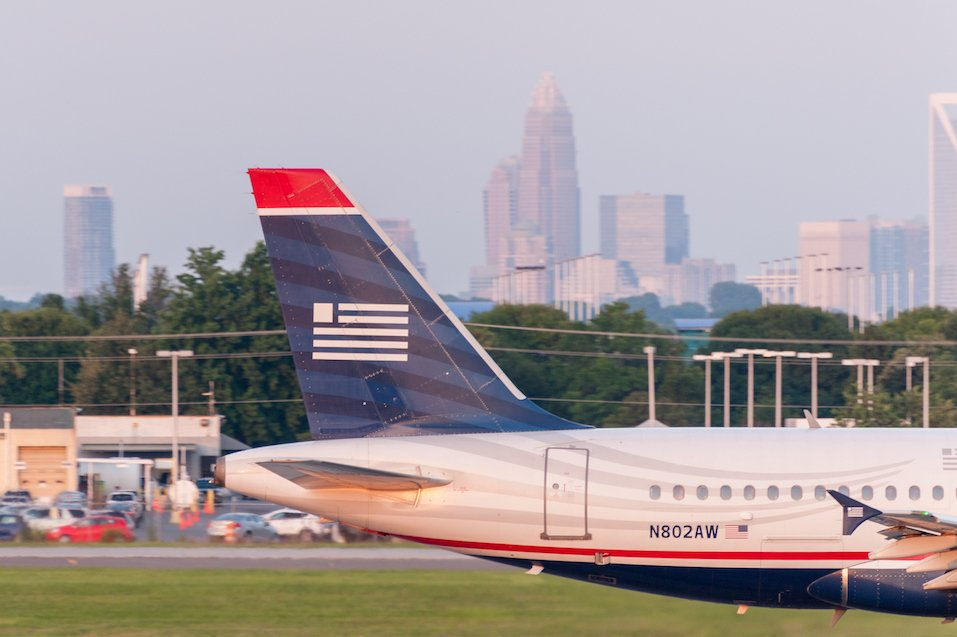 Charlotte Douglas International Airport with the city of Charlotte