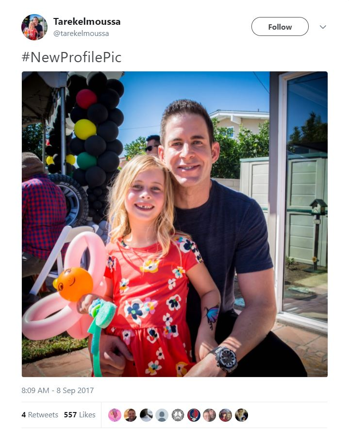 Tarek El Moussa and his daughter pose for a picture