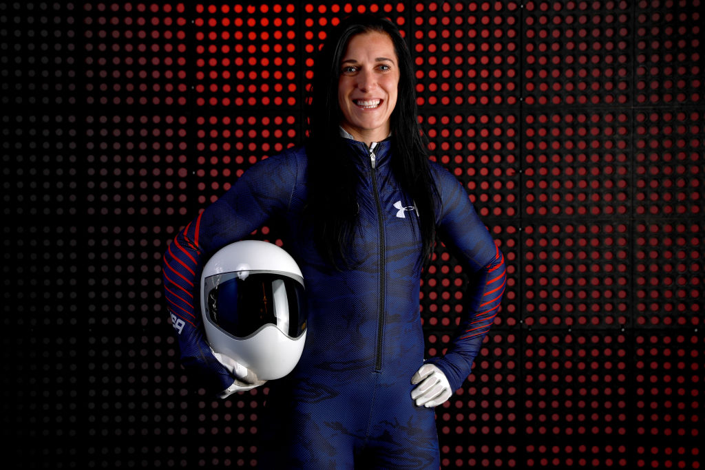 Skeleton racer Annie O'Shea poses for a portrait during the Team USA Media Summit