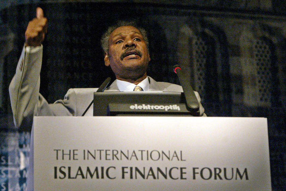 The head of the Islamic Banking Studies Bahrain Institute of Banking & Finance Dr. Taha Eltayeb Ahmed speaks to guests