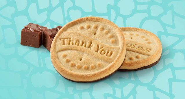 Thanks a lot cookies on a blue background.
