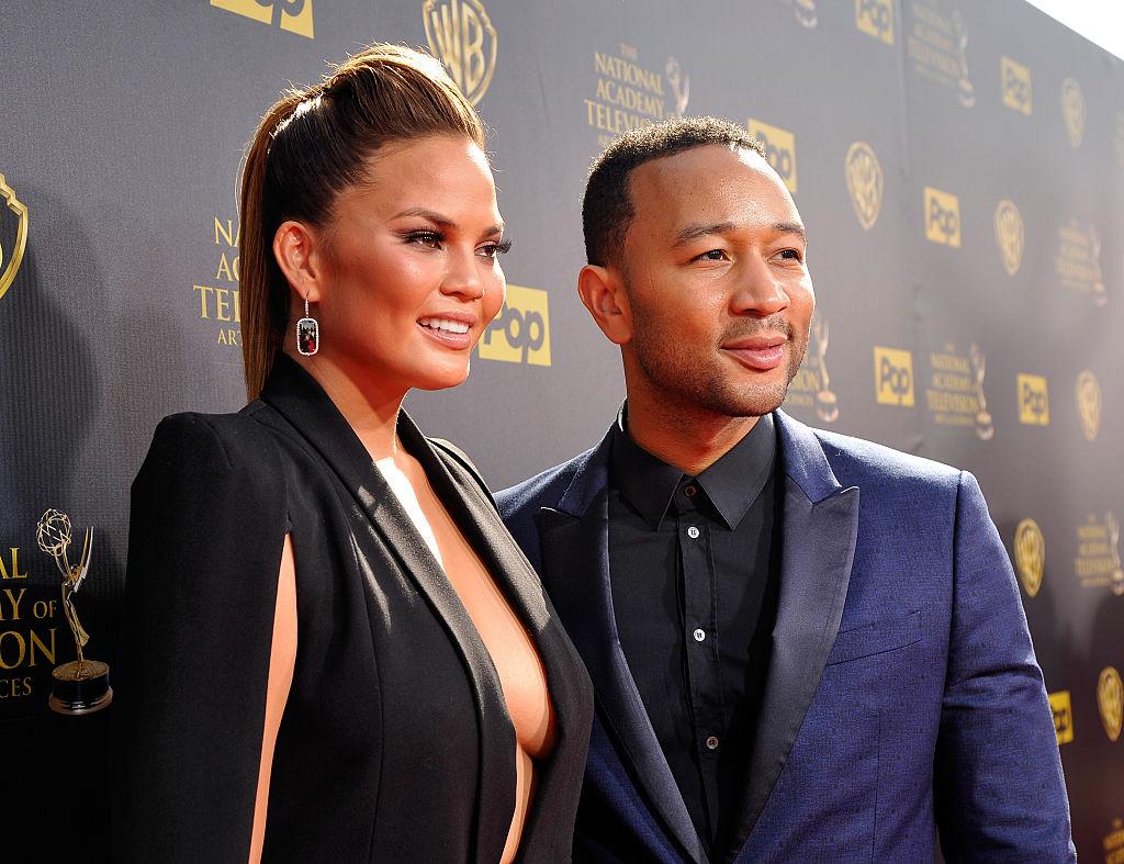 Model Chrissy Teigen and recording artist John Legend attend The 42nd Annual Daytime Emmy Awards