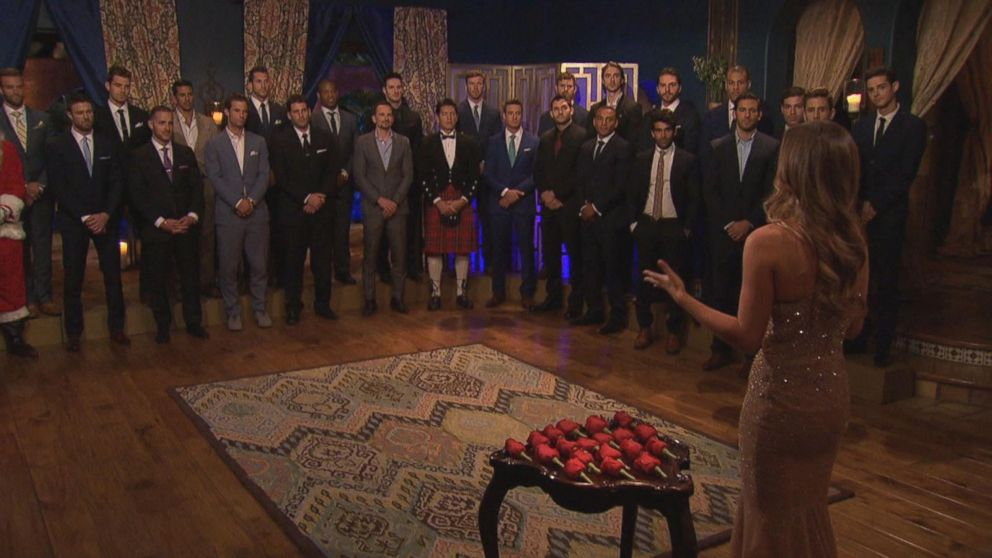 A rose ceremony on The Bachelorette