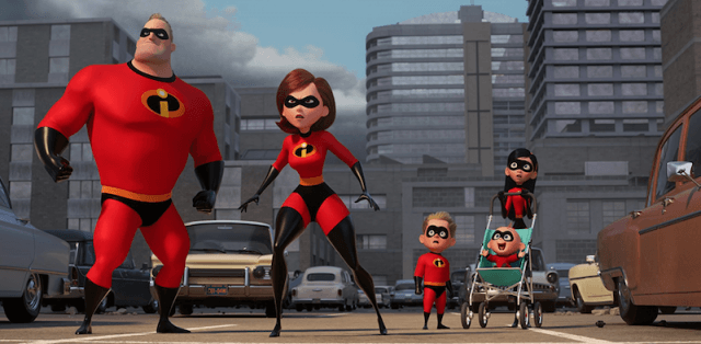 The 'Incredibles' looking upwards in shock at a villain.