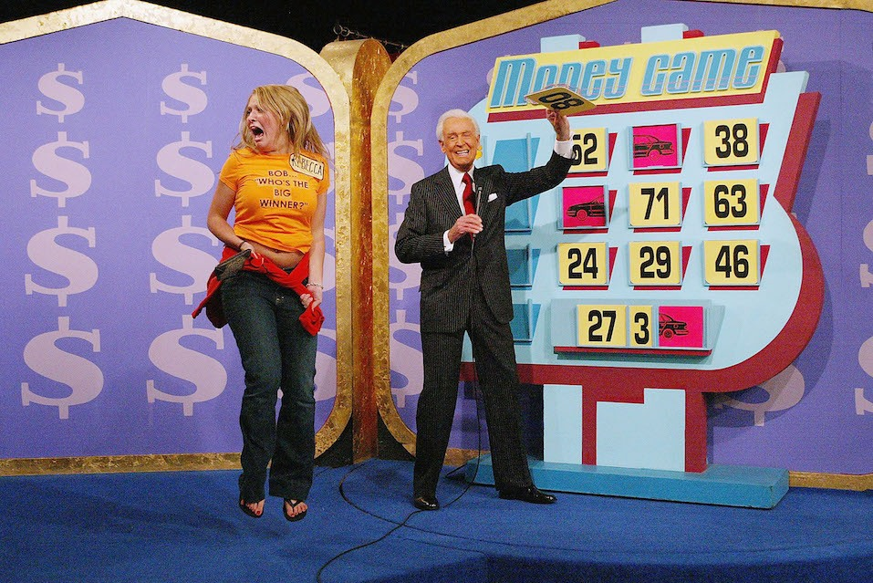 "A contestant and host Bob Barker during ""The Price Is Right"" million dollar spectacular celebrating host Bob Barker's induction into the Academy of Television Arts and Sciences' Hall of Fame"