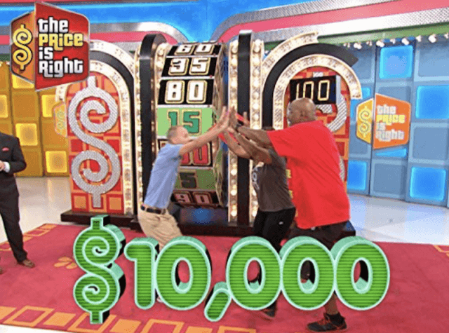 'The Price is Right' contestants celebrating during a game segment.