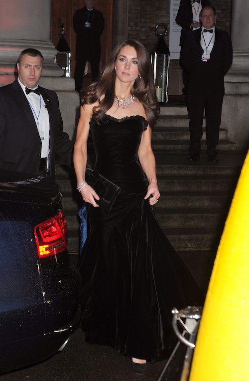 Kate Middleton in a black gown.